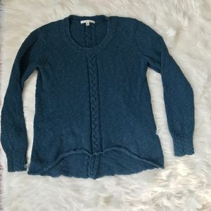 cAbi Peacock Blue Cable Knit Sweater 470 MEDIUM
